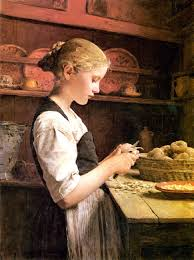 Albert Samuel Anker - Young Girl Pealing Potatoes